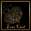 Gold elegant love heart card — Stock Photo