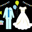Stock Photo: Wedding icons set, card,