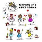 Wedding love icons set, — Stock Photo