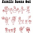 Family icons set, love, sport, — Stock Photo