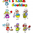 Cartoon cooking icons set, food — Stock Photo #1896128