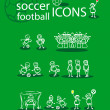 Stock Photo: Soccer, football icons set, green