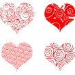 Heart card, 4 curly red valentin's — Stock Photo