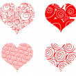 Heart card, 4 curly red valentin's — Foto Stock