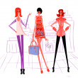 3 cartoon girl, modern woman — Stock Photo