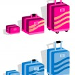 Suitcase set, Baggage kit in blue — Stock Photo