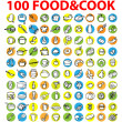 100 vector food & cook icons — Stock Photo