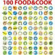 100 vector food & cook icons — Stock Photo #1896540