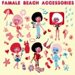 Female beach accessories icons — Stock Photo