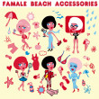 Stock Photo: Female beach accessories icons