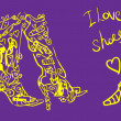 Love shoes card, fake tattoo poster — Stock Photo #1896650
