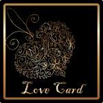 Gold elegant love heart card — Stock Photo