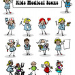 Medical icons set,kids - Stock Photo