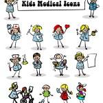 Medical icons set,kids — Stock Photo