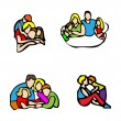 Happy family emblem, — Stockfoto