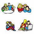 Happy family emblem, Casual icons — Stock Photo