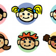 Happy family kids icons set — Stock Photo #1896814