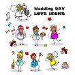 Wedding love icons set, — Stock Photo