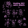 Foto de Stock  : Wedding love icons set,