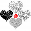 Stock Photo: Tattoo flower hearts