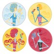 Fake candy woman icons — Stock Photo