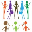Fashion girls group silhouette — Stock Photo