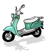 Retro moped, vector transportation — Stock Photo