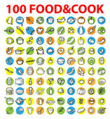 100 vector food & cook icons — Stockfoto