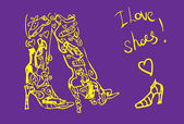 Love shoes card, fake tattoo poster — Stock Photo