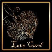 Altın zarif aşk kalp kart — Stok fotoğraf