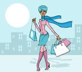 Woman spring, autumn shopping — Stock Photo