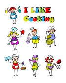 Cartoon cooking icons set, food — Stock Photo