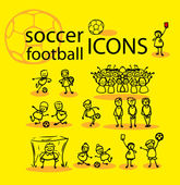 Soccer, football icons set, yellow — Stock Photo