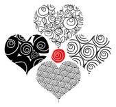 Dövme çiçek kalpler — Stok fotoğraf