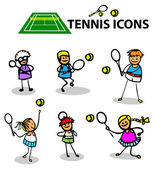 Tennis icons, fake cartoon sport — Stock Photo