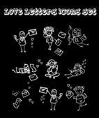 Czarne tło listy miłosne — Zdjęcie stockowe