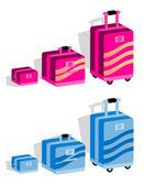 Walizka zestaw, zestaw bagażu w kolorze niebieskim — Zdjęcie stockowe