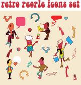 Set of retro peoples icons, — Stock Photo