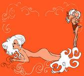 Naken sexig kvinna, sirene-kort — Stockfoto