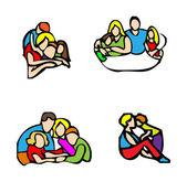 Happy family emblem, — Stock Photo