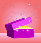 Gift box, magic valentin's day — Stock Photo