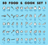 Home icons 50 vector food & cook — Stok fotoğraf