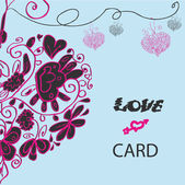 Love fake paper card, curly heart — Stock Photo