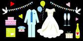 Wedding icons set, card, — Stock Photo