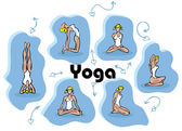 Yoga woman blue vector — Stock Photo
