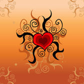 Tattoo love heart card, background — Stock Photo