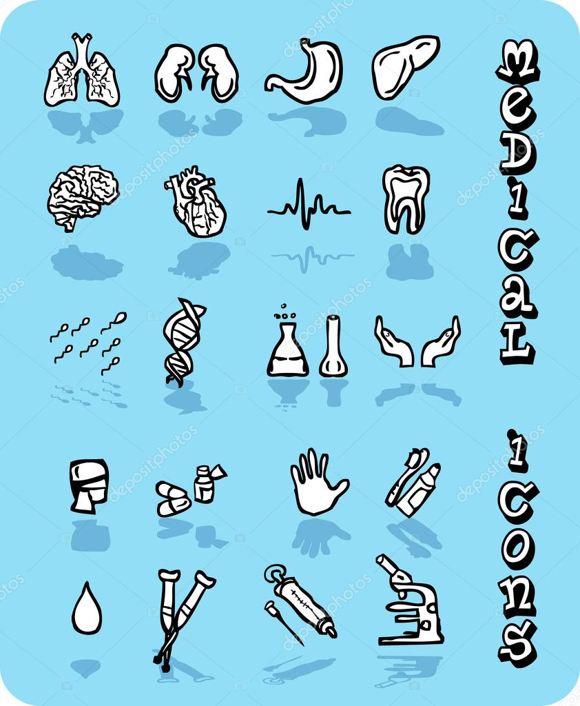 Vector medical icons, Black and white on blue background — Stock Photo #1895927