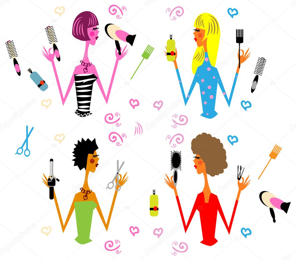 4 woman hair style and hairdresser's tools, vector glamour fashion icons, illustration — Stock Photo #1896505