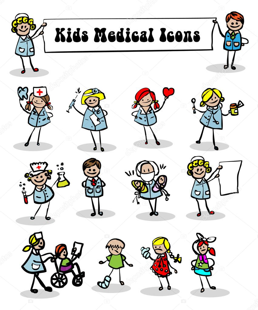 Medical icons set,kids cartoon kids & medical staff, medical equipments and vector — Stock Photo #1896766