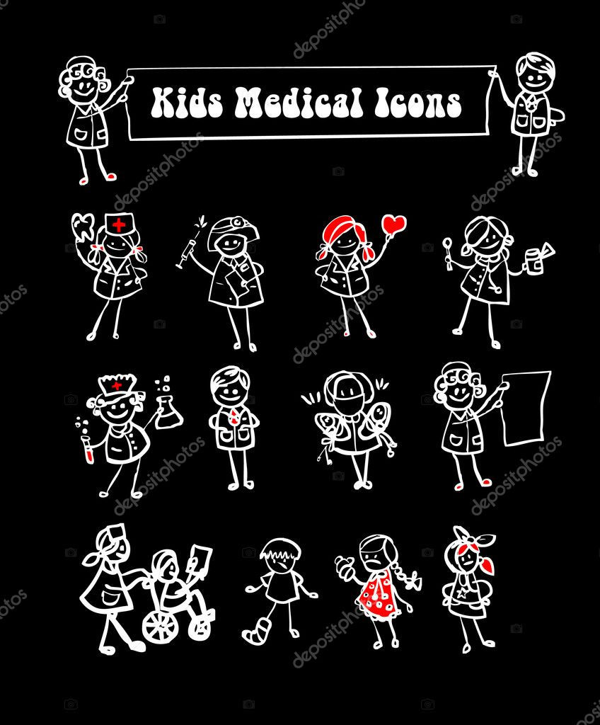 Black background medical icons set,kids cartoon kids & medical staff, medical equipments and vector — Stock Photo #1896869